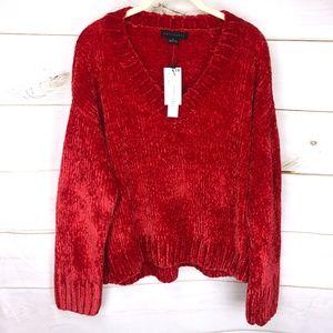 SANCTUARY Women's Red Chenille Sweater